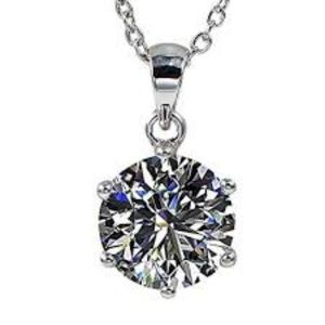 Jewelry - White Gold CZ Solitaire Pendant Necklace NWT